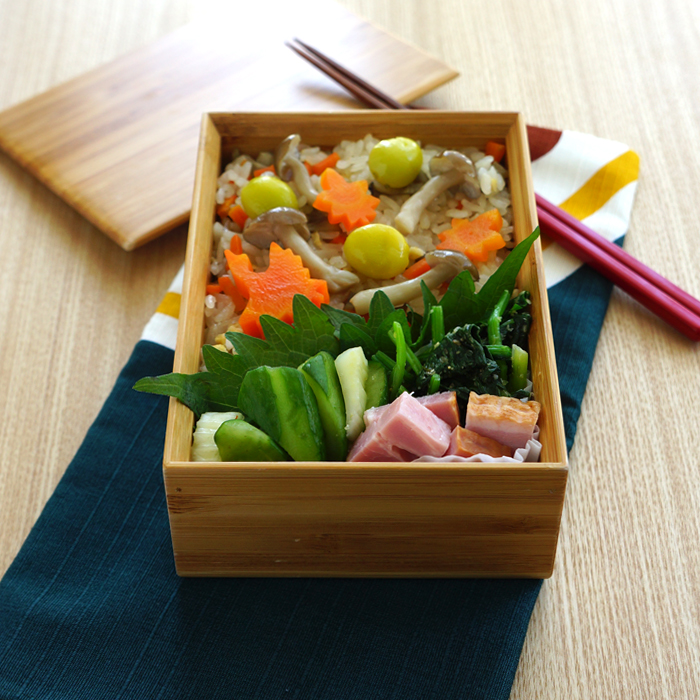 Cooked rice bento/秋の炊き込みごはん弁当