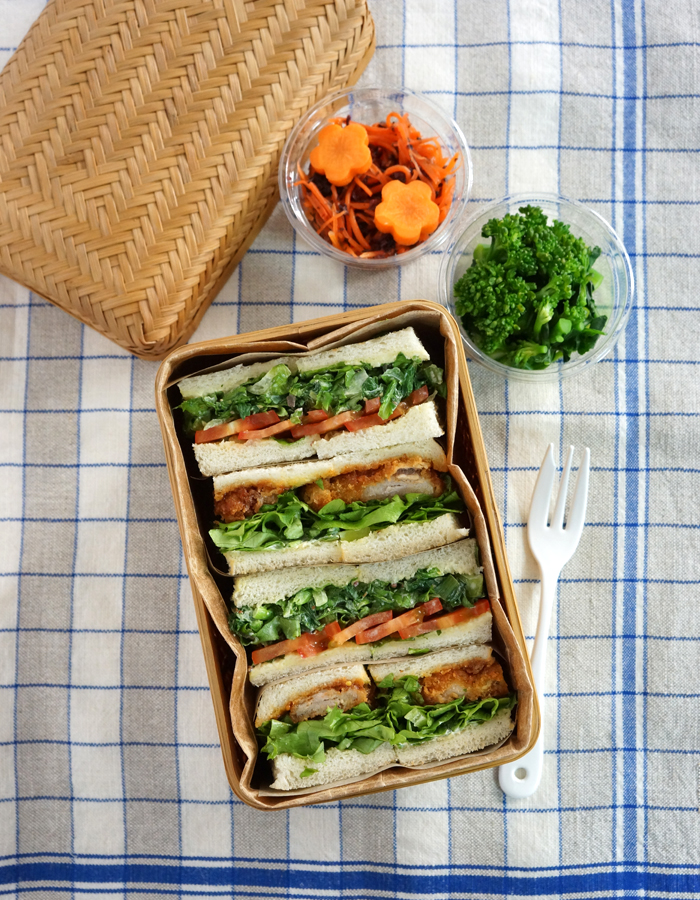 Katsu sando, pork cutlet and veggies sandwich bento・カツサンドと野菜サンド弁当