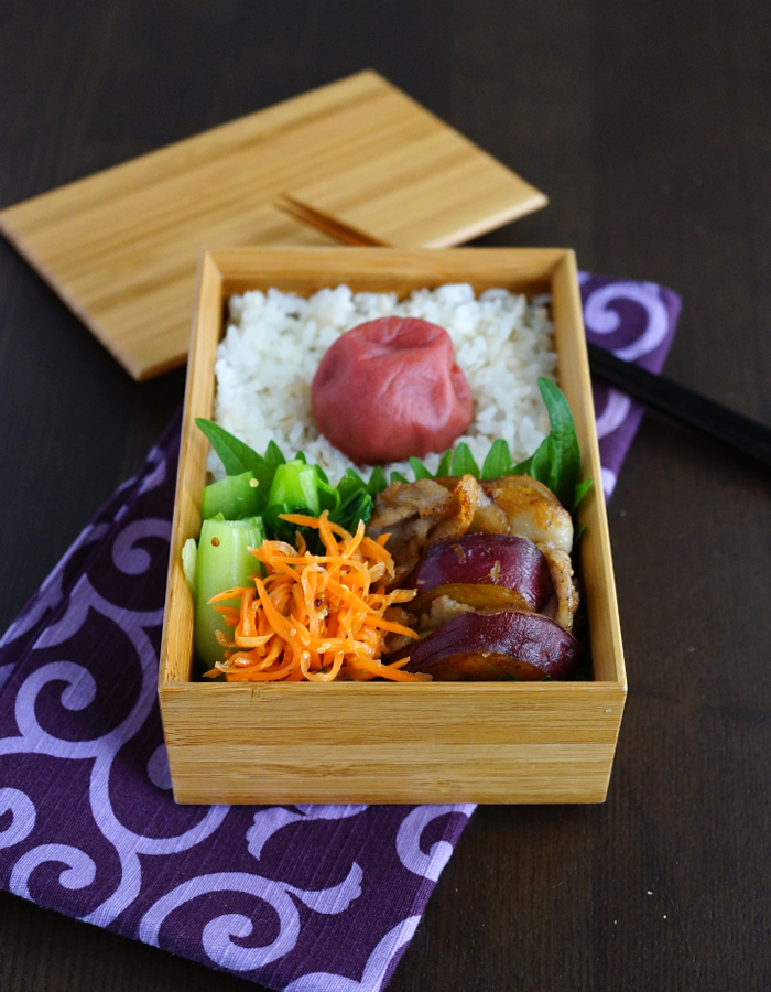 Stir-fried pork and sweet potatoes bento/サツマイモと豚肉の醤油バター焼き弁当