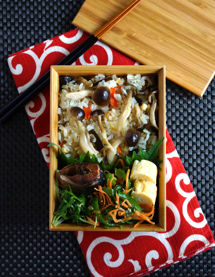 Cooked mushrooms rice bento/キノコごはん弁当
