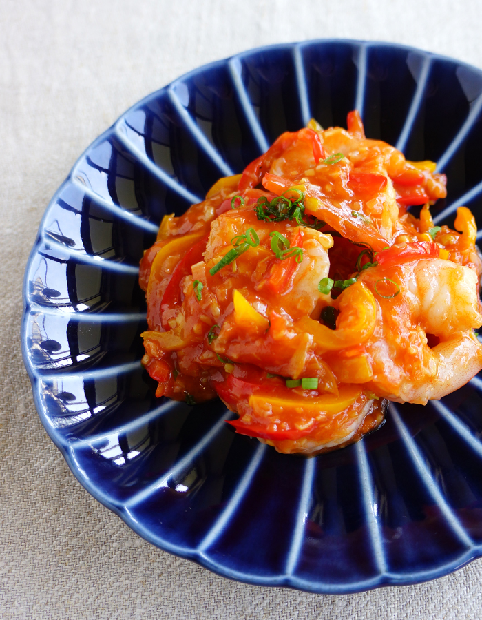 Sweet chilli prawns stir-fry