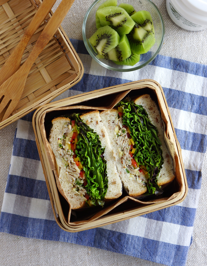 Italian tuna confit salad and greens sandwich/ツナサラダサンドウィッチ弁当
