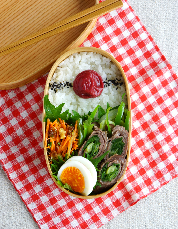 Beef and scallion roll-ups bento/長ネギの牛肉巻き弁当