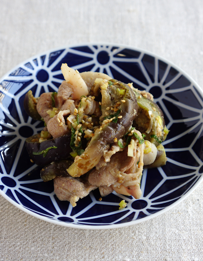 Pork and eggplant salad
