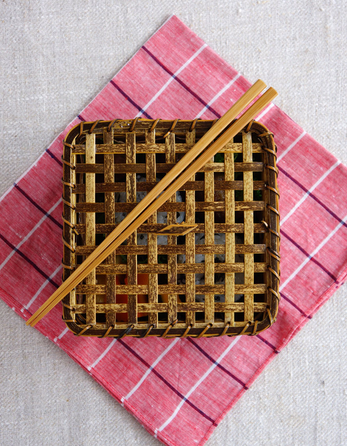 Beautiful bamboo box, fabric and chopsticks