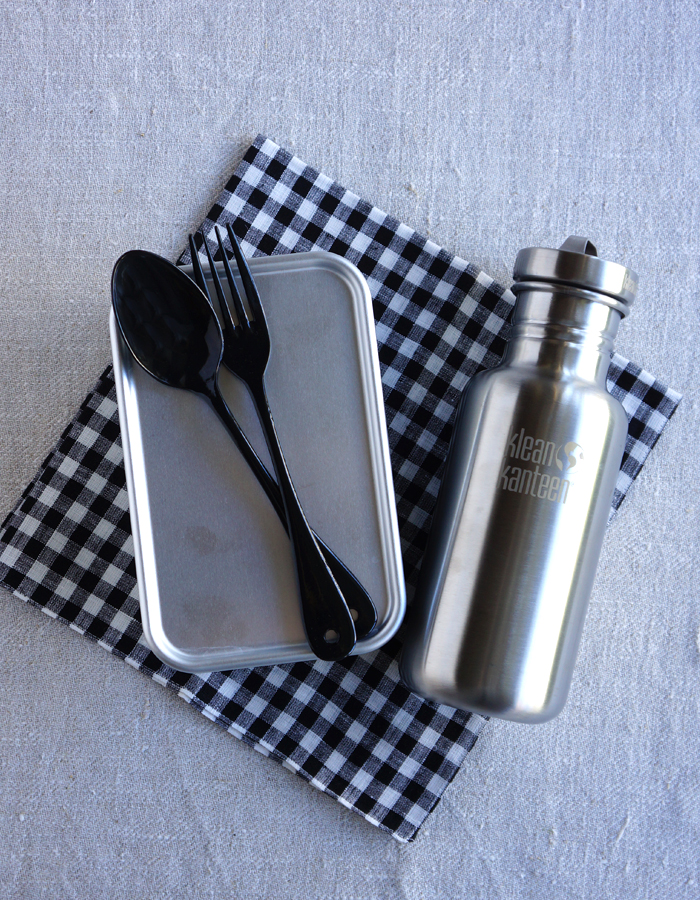 Bento box, fabric, cutlery and klean kanteen bottle