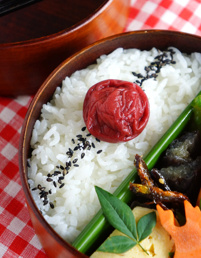 Rice topped with gomasio and umeboshi