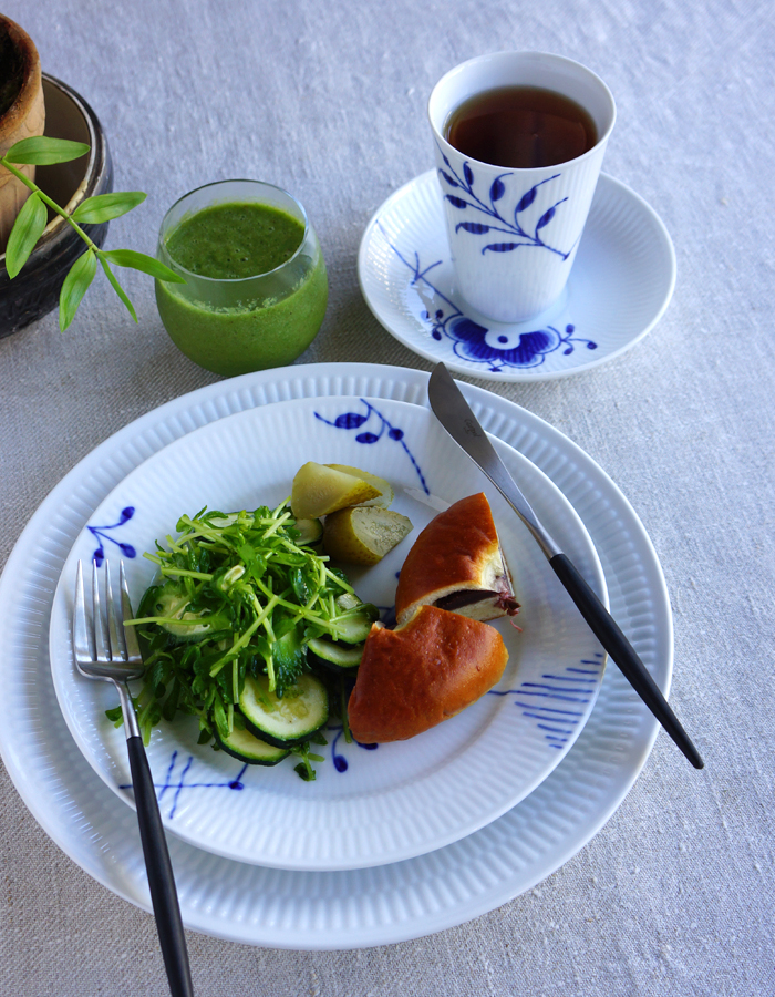 mixed green salad, anpan, green smoothie and a cup of tea