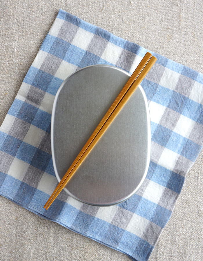 Aluminum bento box, fabric and chopsticks