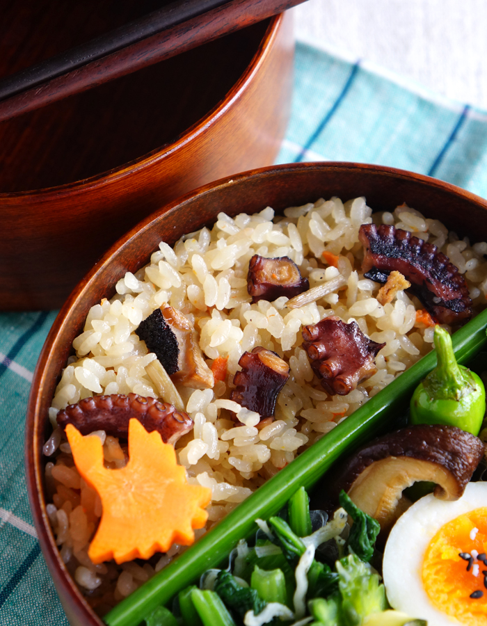 Cooked octopus rice