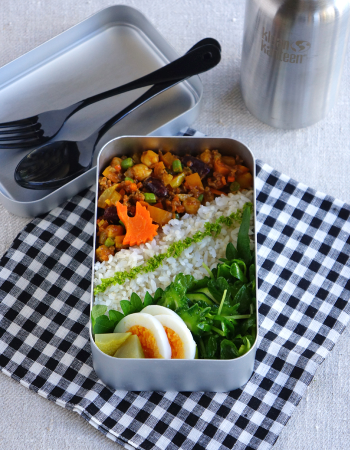 Ground beef and chickpea curry bento/ひよこ豆のドライカレー弁当