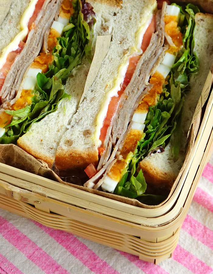 The combination of ham, cheese, hard-boiled egg and salad is very well-balanced
