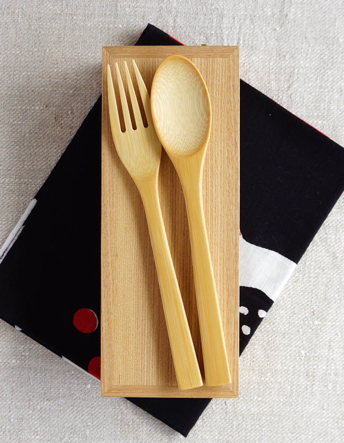 Bento box, tenugui and bamboo cutlery.