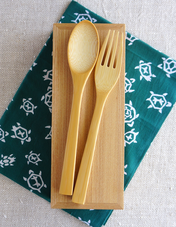 Wooden bento box, tenugui fabric and bamboo cutlery