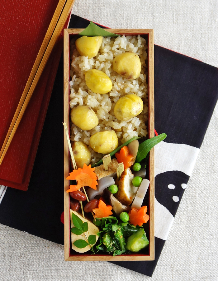 Cooked chestnut rice bento/栗ごはん弁当