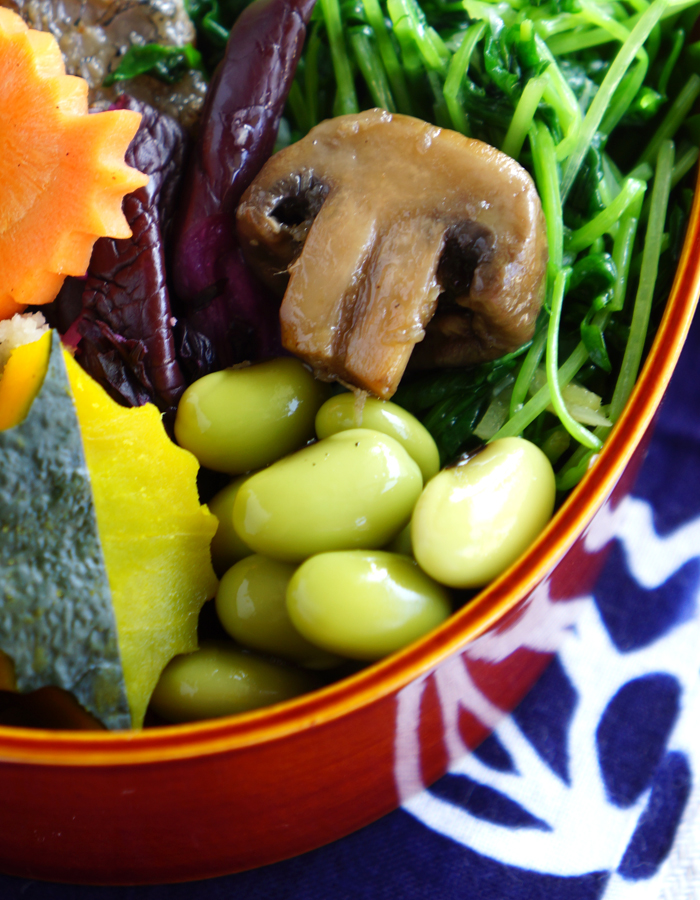 Simmered green soy beans and balsamic marinated mushroom