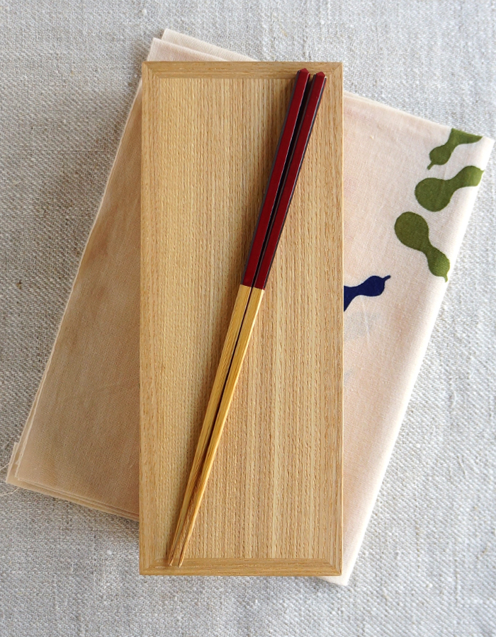 Wooden bento box, tenugui fabric and chopsticks
