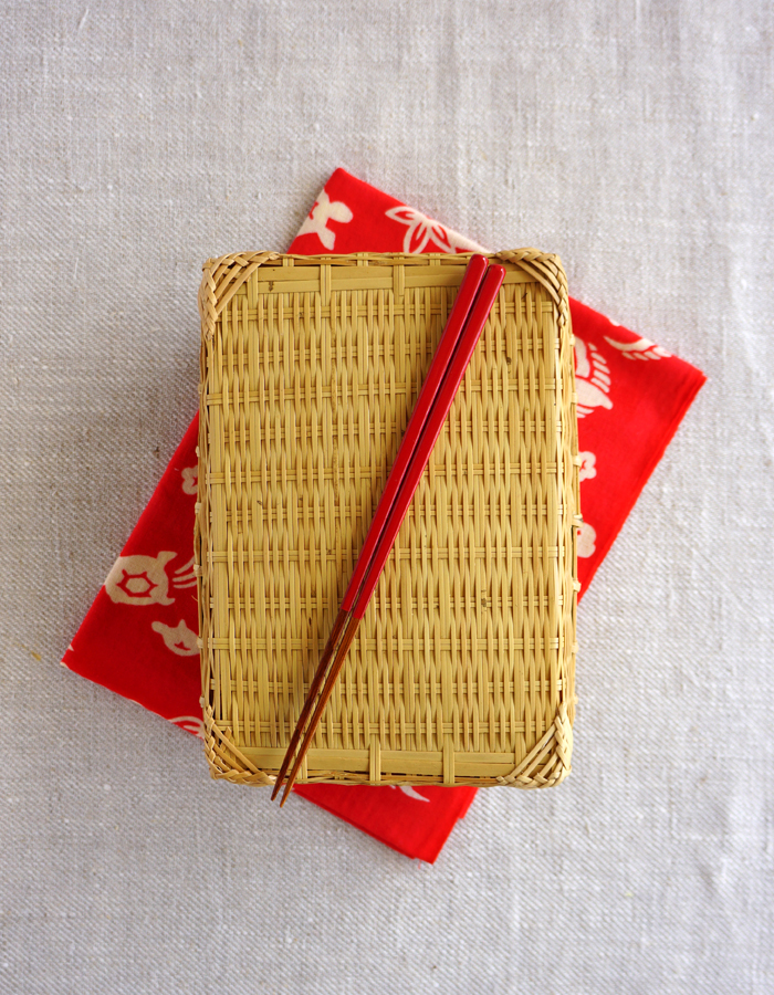 Bamboo bento box, tenugui fabric and chopsticks