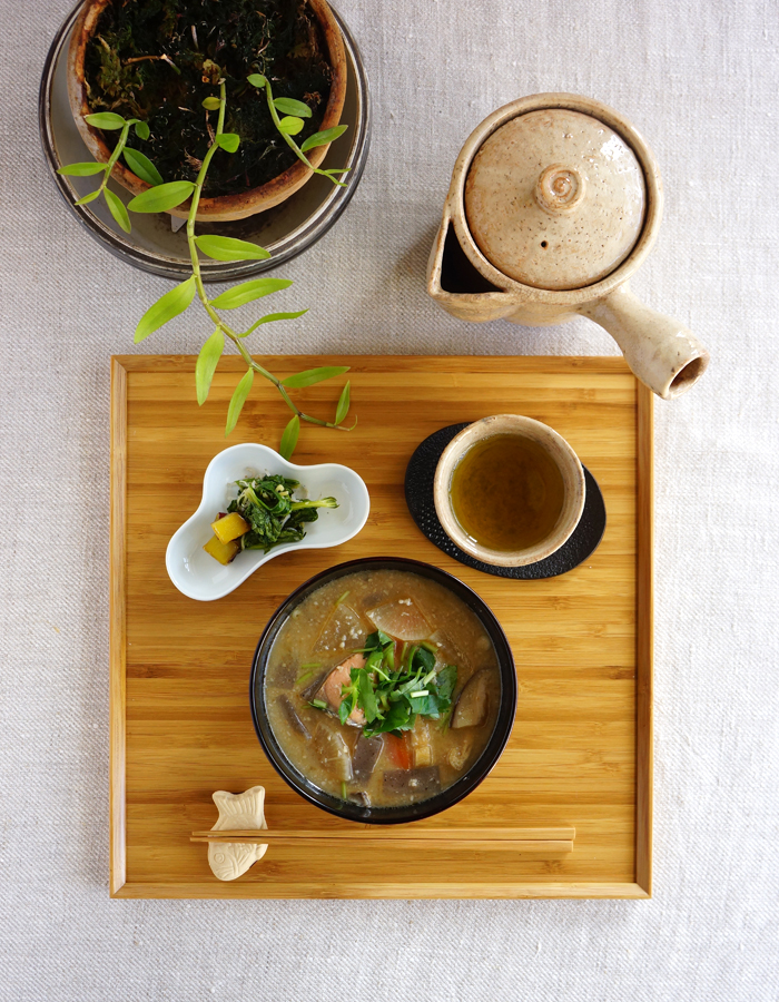 Miso soup with sake lees