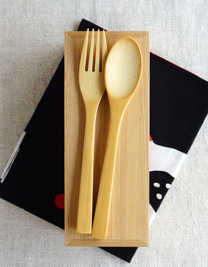 Wooden bento box, tenugui fabric and cutlery