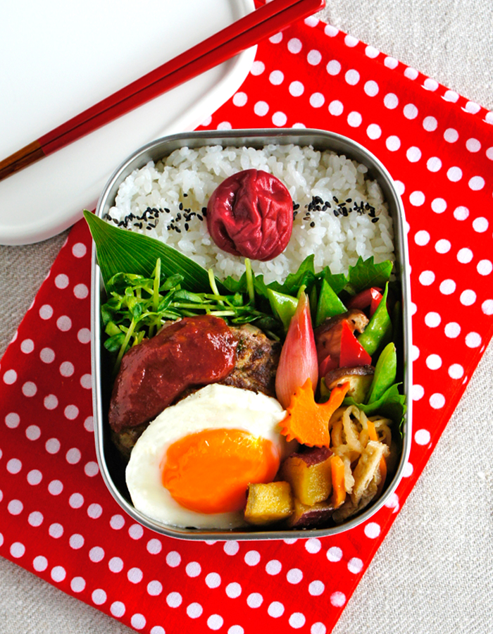 Grilled beef hamburger steak bento/ハンバーグ弁当