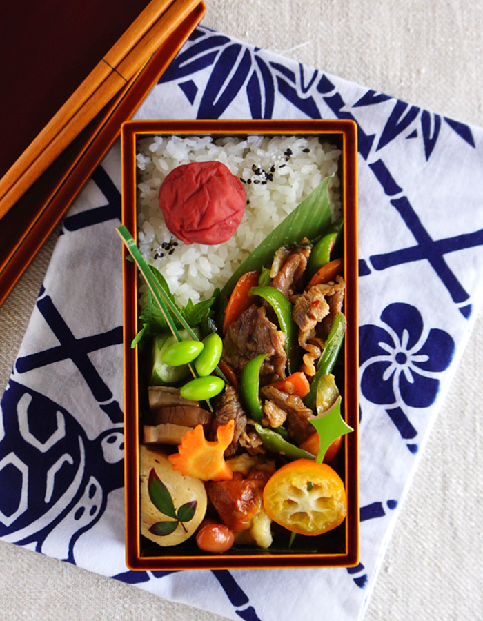 BBQ beef and veggies stir-fry bento