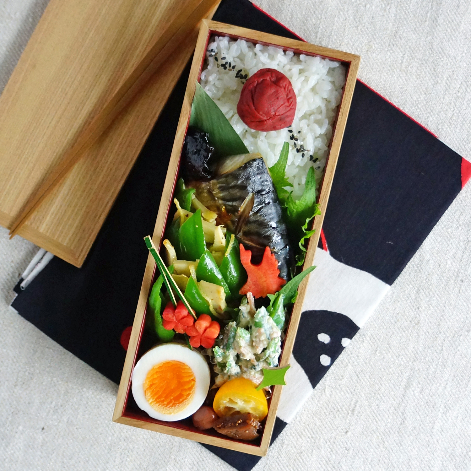 Grilled mackerel bento