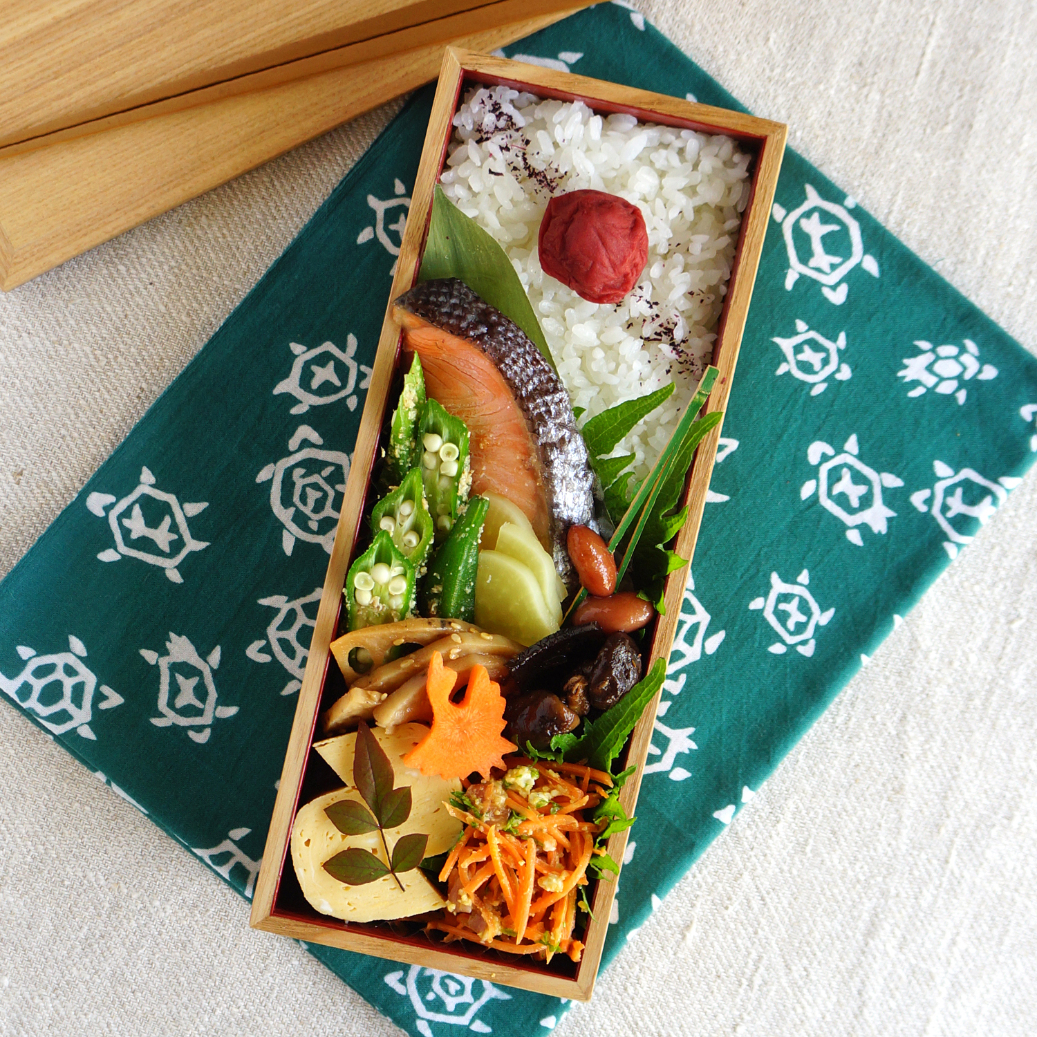 Grilled salted salmon bento