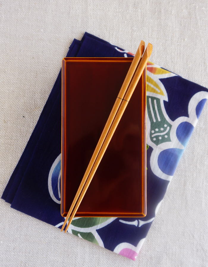 Wooden bento box, chopsticks and tenugui fabric