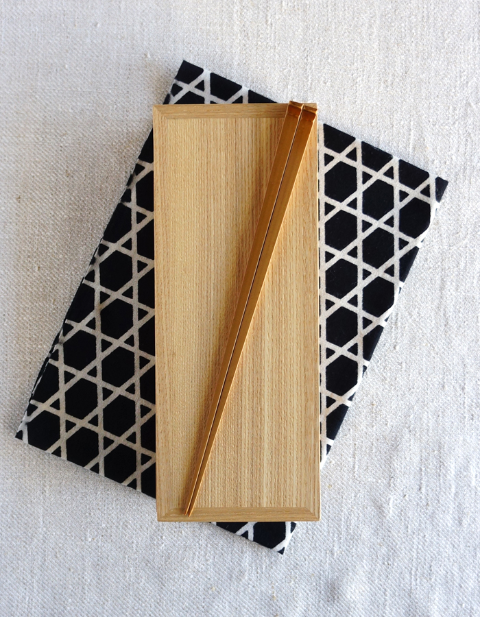wooden lunch box, chopsticks and tenugui fabric