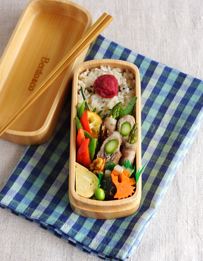 Pork and asparagus roll-ups bento/アスパラガスの豚肉巻き弁当