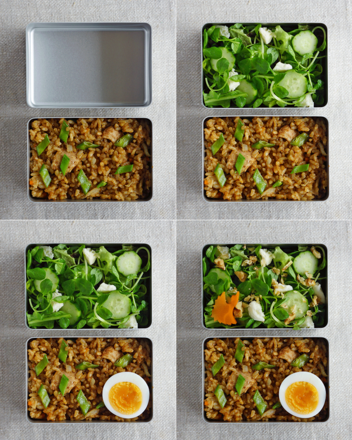 how to pack the curried chicken and rice and food into the bento box/カレーチキンライス弁当の詰め方