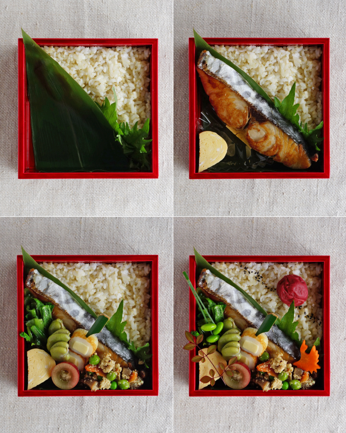 how to pack the grilled fish and food into the bento box/鰆の醤油焼き弁当の詰め方